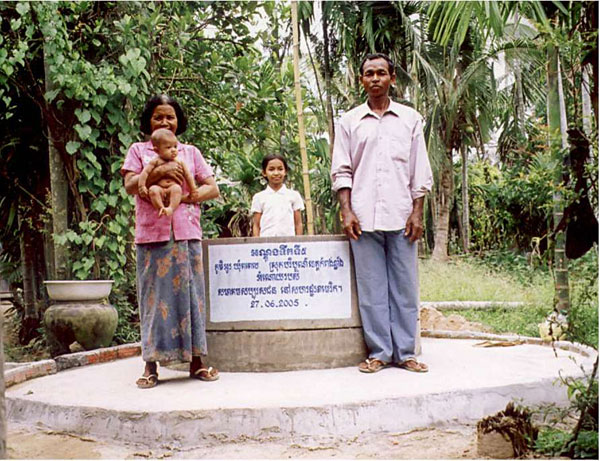 Ang Village family well. Concrete cylinders are made in the village to line hand-dug wells that reach groundwater at about 30 ft. This design is simple, long-lasting, holds up during the dry season, and serves several families.