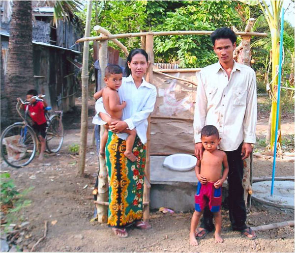 Omany Village. Pit toilets, with two tanks and a vent, last for years and serve one or several families. A contractor installs the tanks and the families build their own shelter. Cost is $80 per toilet. Toilets prevent contamination of surface water, protect people's health, and improve the comfort and dignity of daily life.